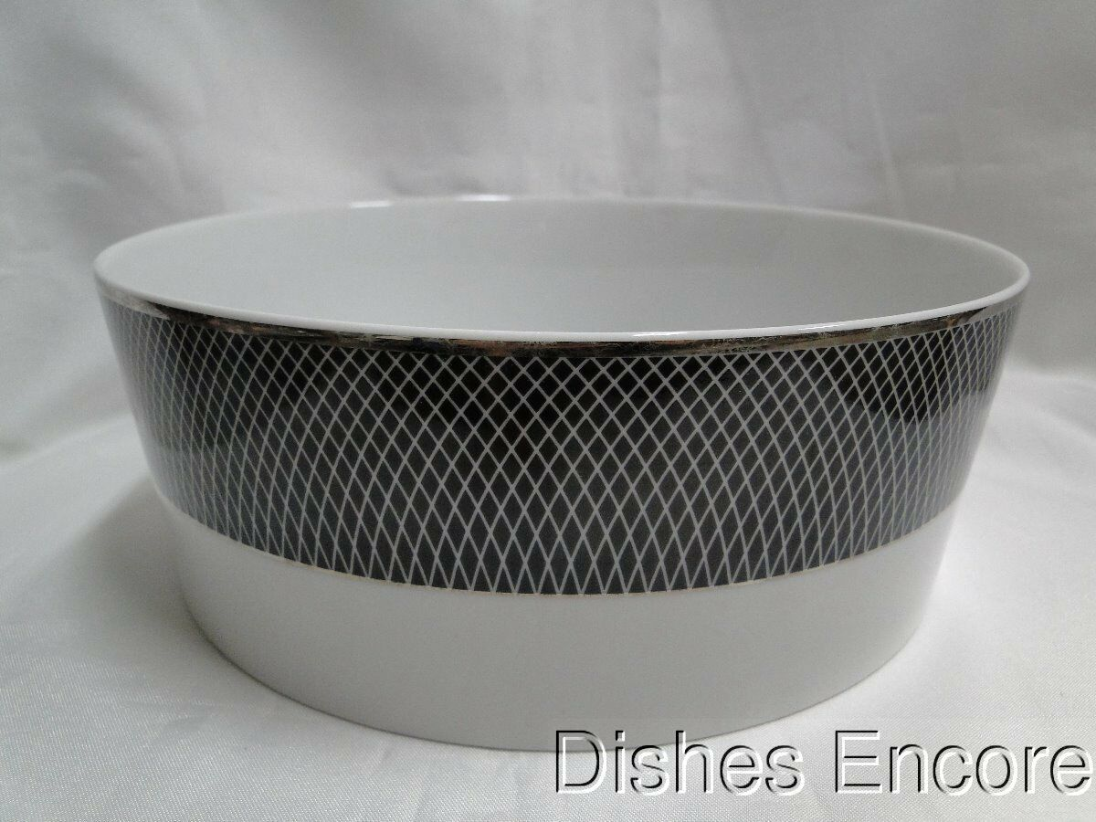 Block Midnight, Portugal, Black/White Rim with Platinum: Round Serving Bowl (s)