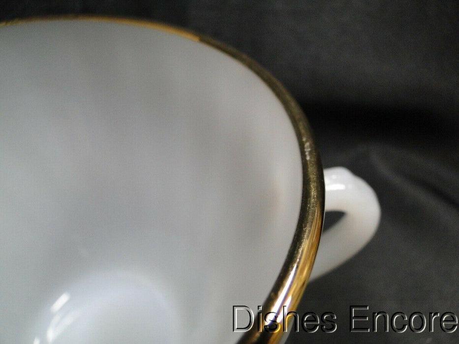 Anchor Hocking Swirl Golden Shell Milk Glass w/Gold: Sugar Bowl, No Lid
