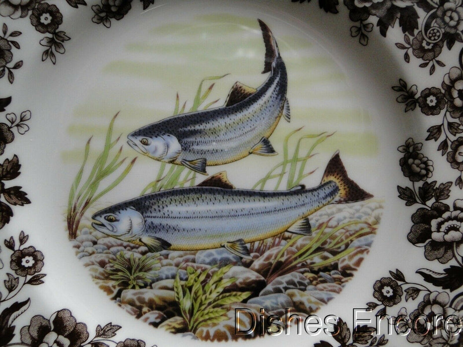 "Spode Woodland King Salmon, North American Fish: NEW Salad Plate, 7 3/4"", Box"