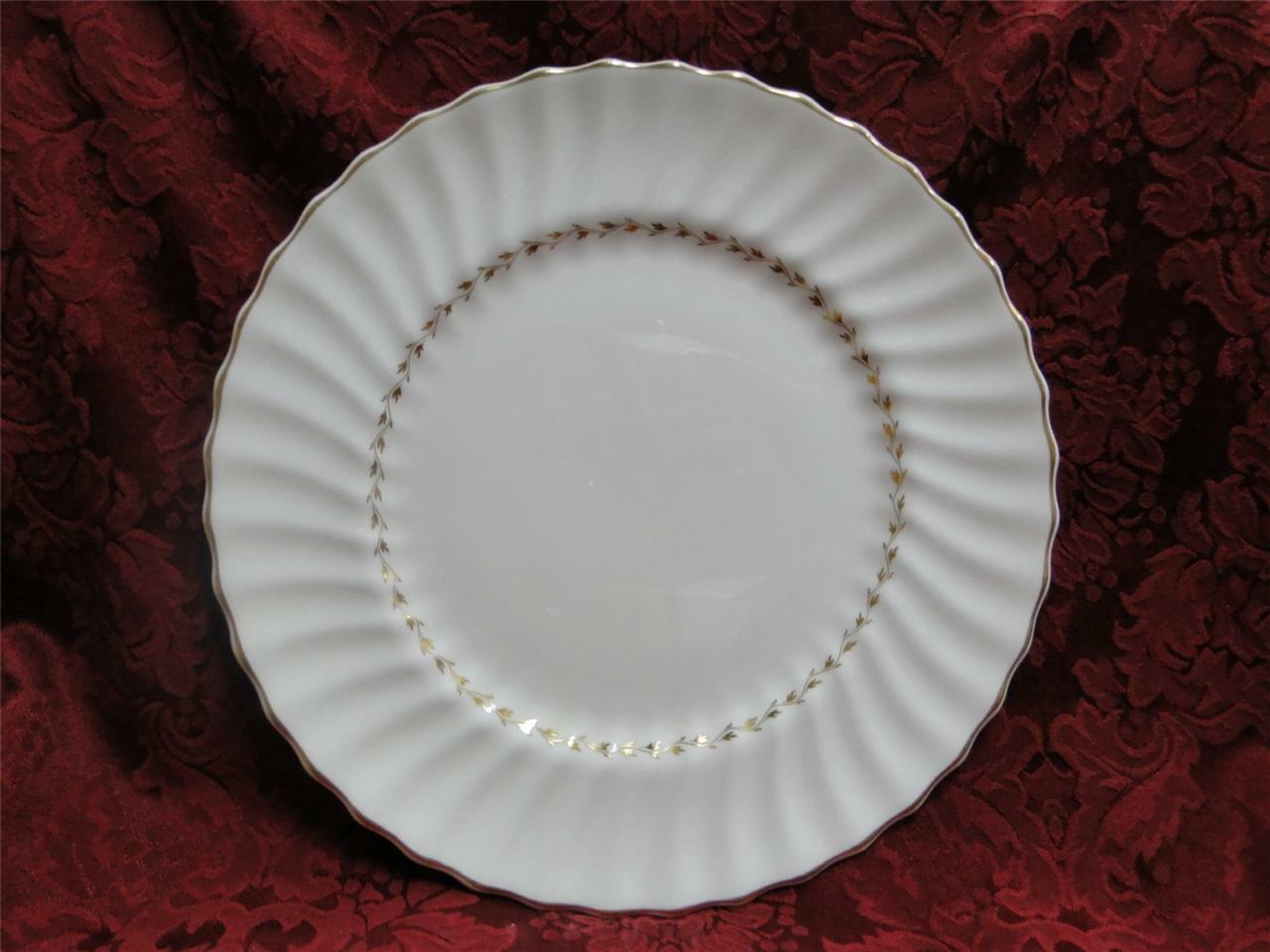 Royal Doulton Adrian, White, Gold Laurel, Swirl Rim: Dinner Plate (s), 10.5""