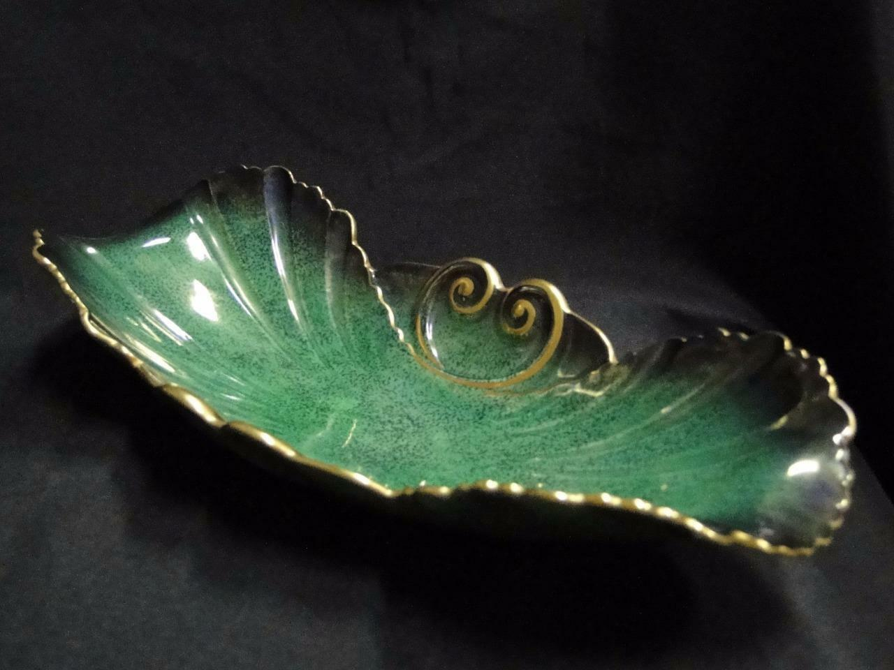 "Carlton Ware Vert Royale, Green and Gold: Relish Dish 12 1/4"" Crazing"