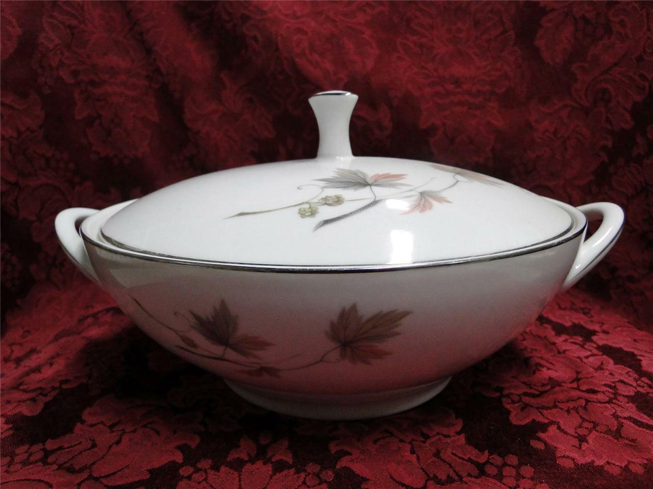Noritake Oaklane, 6310, Taupe & Peach Leaves: Covered Vegetable Bowl & Lid As Is