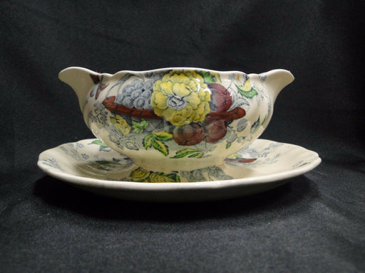 Royal Doulton The Kirkwood, Flowers & Fruit: Gravy w/ Attached Underplate, As Is