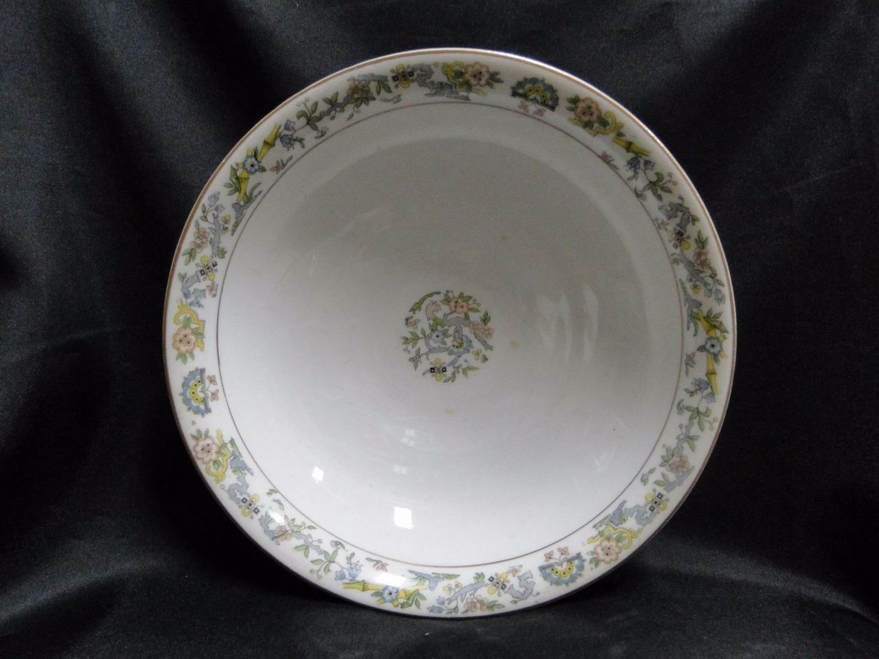 Syracuse Oriental, Blue/Green/Tan Border, Gold Trim: Round Serving Bowl, 8 7/8""