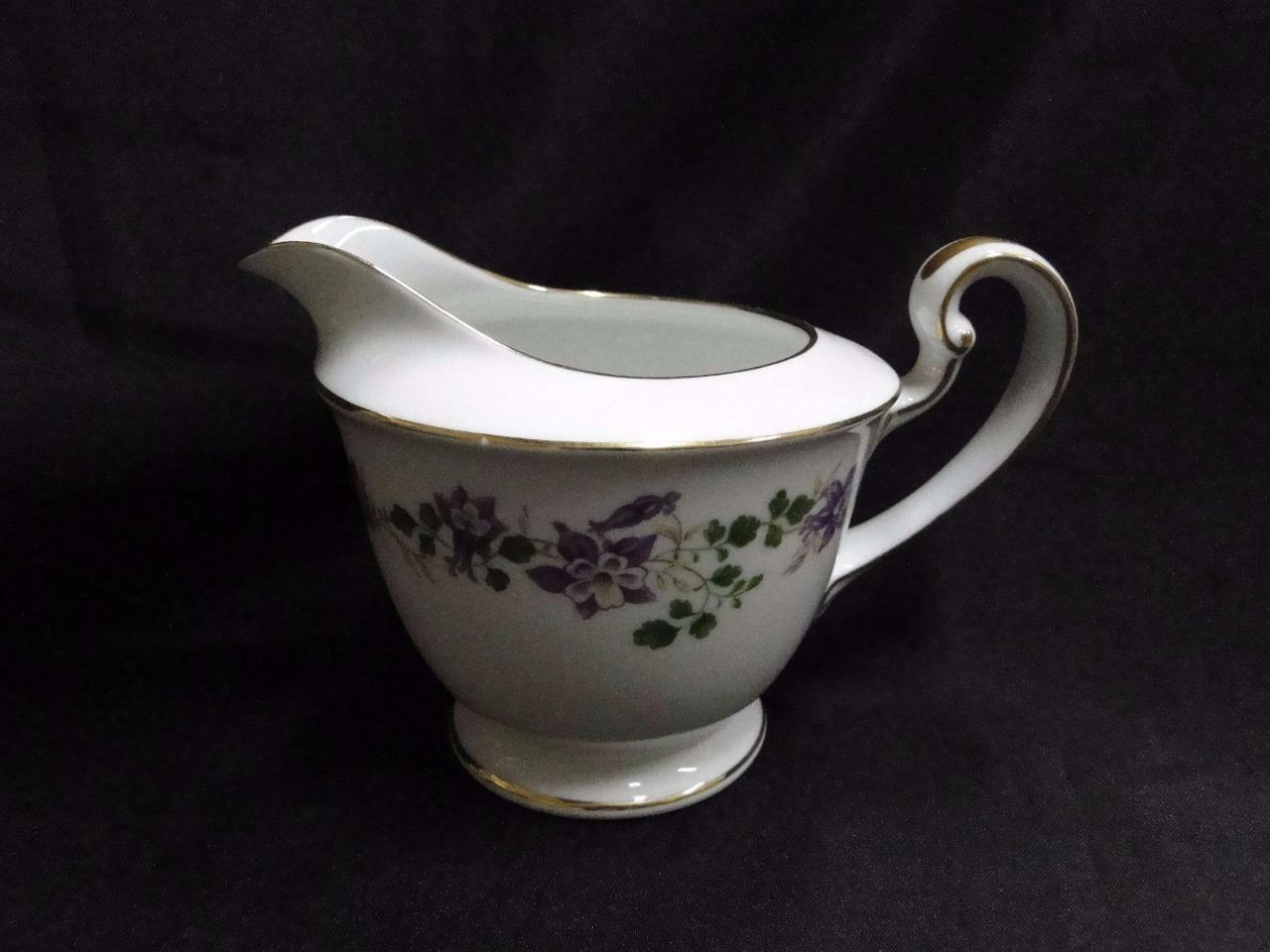 Noritake Therese, 5158, Purple Flowers, Gold Trim: Creamer / Cream Pitcher, 4""