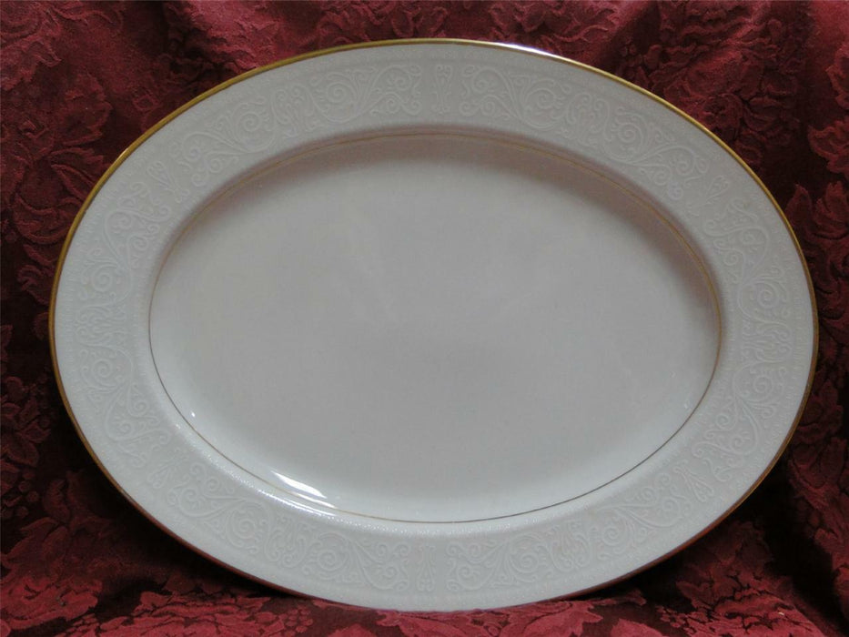 Noritake Tulane, 7562, White Scrolls, Gold Trim: Serving Platter, 13 5/8""
