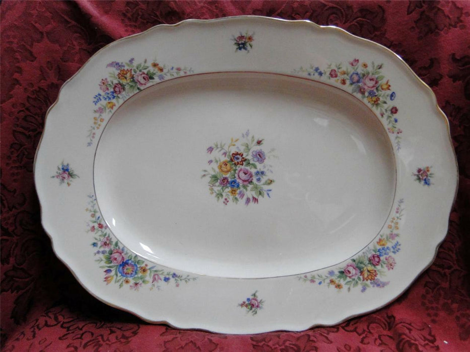 Krautheim/Franconia Lakme Floral Scalloped Ivory, Gold Trim: Oval Platter 15.5""