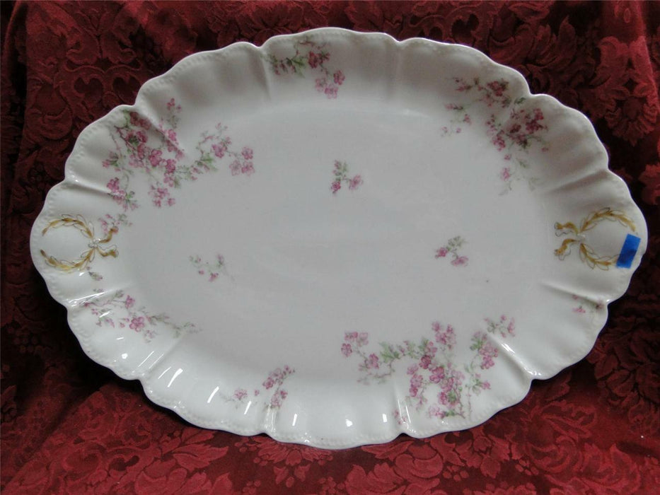 "Haviland (Limoges) Pink Flowers and Green Leaves: Platter 16"" AS IS"