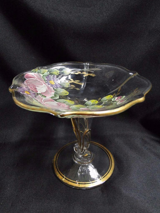 "Handpainted Pressed Glass Floral with Gold Trim Compote 5 1/2"" tall, 6 3/8"" wide"
