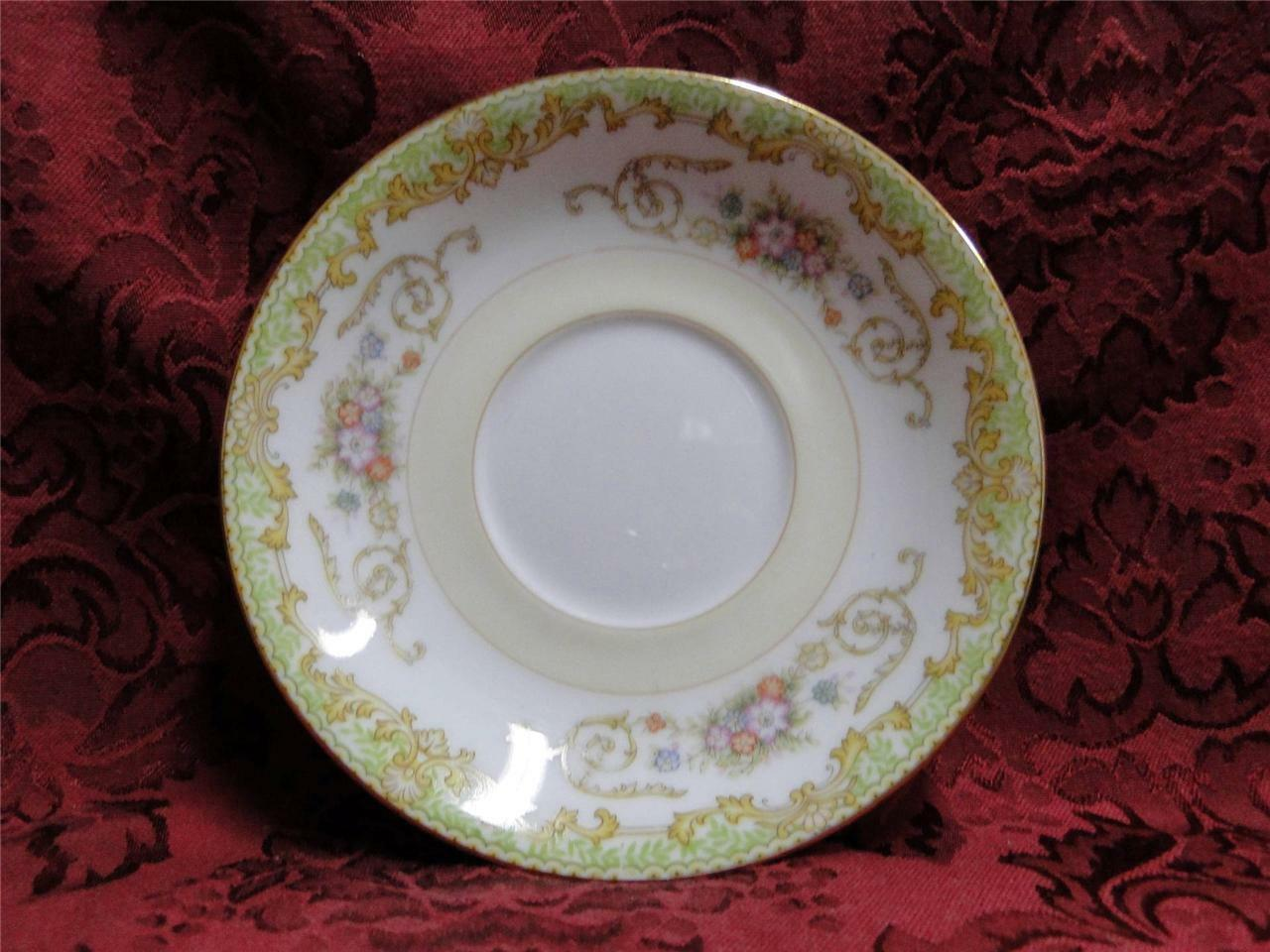 Noritake Green Edge, Swirls & Flowers on White: Saucer (s), Cup Not Included