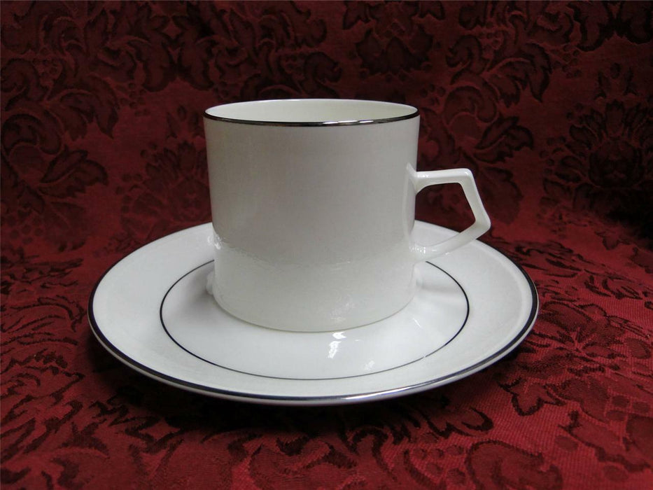 Mikasa Rochelle, White Floral Border, Platinum Trim: Cup and Saucer Set (s)