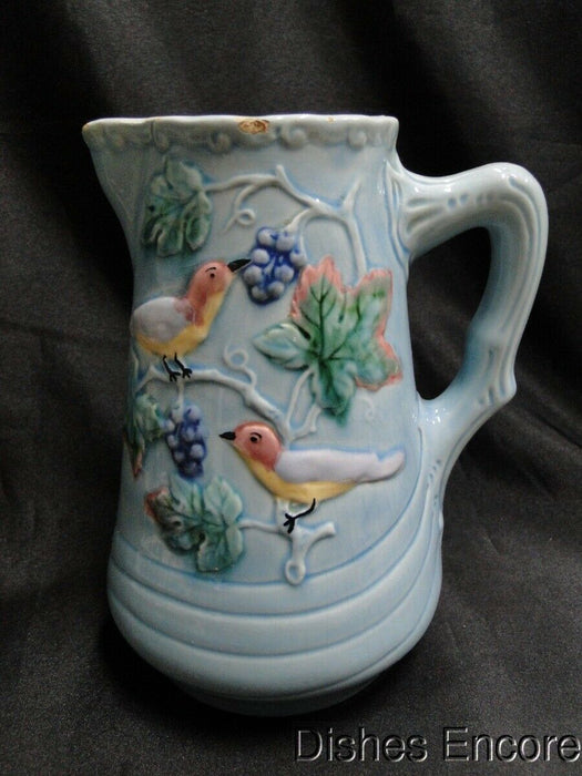 "Highmount, Germany, Majolica, Birds & Grapes: Pitcher 7 1/4"" AS IS"