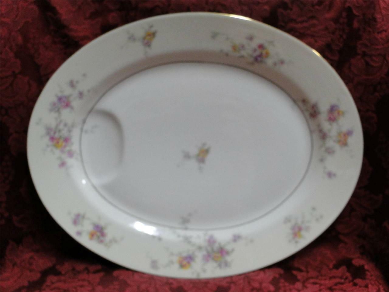 "Haviland (New York) Gloria, Cream Rim, Floral: Platter 14"" x 11"""