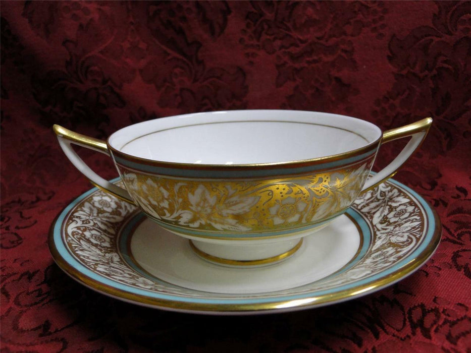 Minton Hanover Flowers on Gold with Turquoise Trim: Cream Soup/Saucer Set (s)