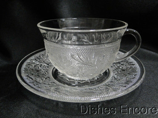 Anchor Hocking Sandwich Clear: Cup and Saucer Set (s), Flat, 2 3/8""