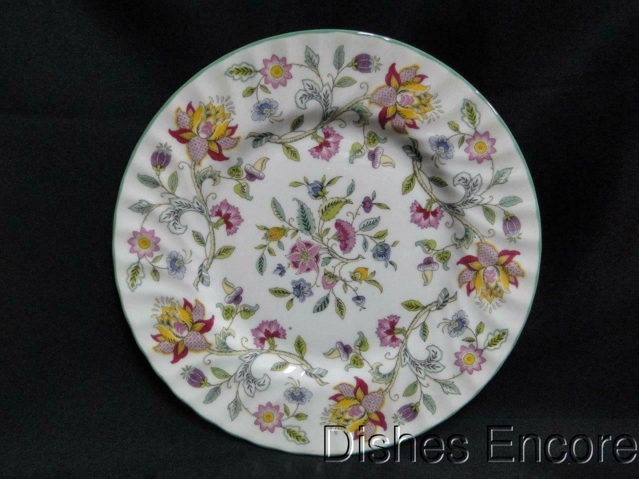 Minton Haddon Hall B1451, Floral Chintz, Green Trim: Salad Plate (s) 8 1/8""