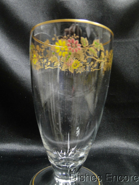 "Clear w/ Gold & Multicolored Florals: Iced Tea (s), 5 5/8"" -- CR#092"