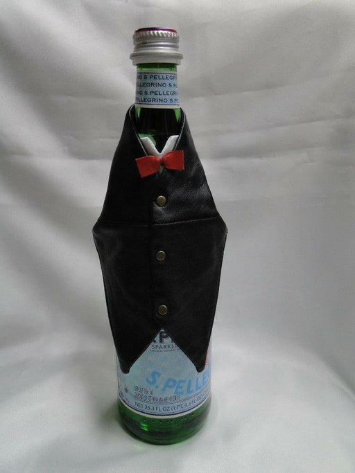 Wine Bottle Tuxedo Vest (s): Black w/ Red OR Orange Bow Tie, NEW