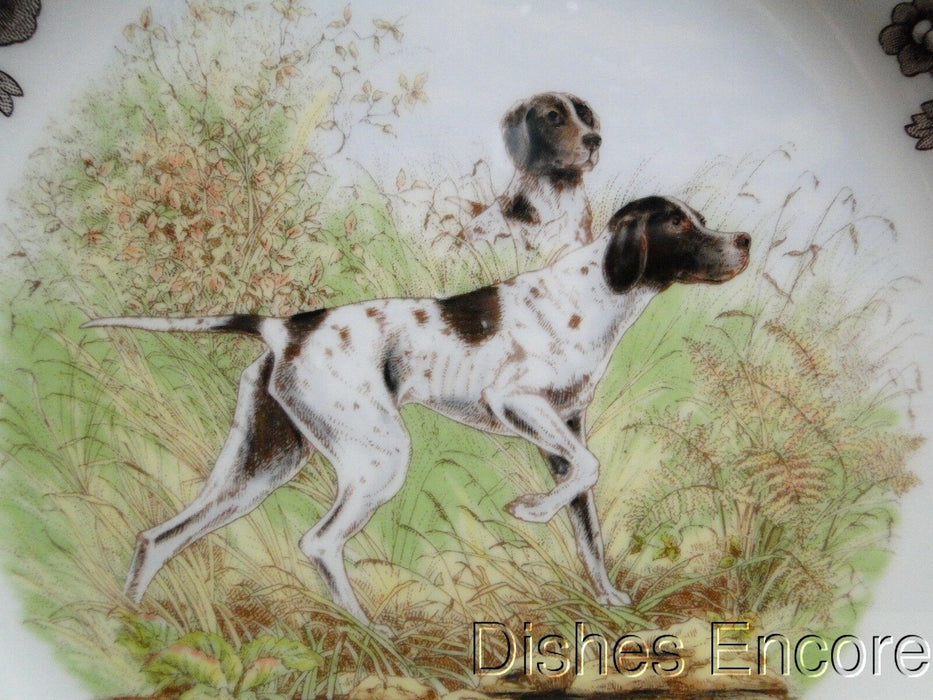 "Spode Woodland Flat Coat Pointer Hunting Dog: NEW Dinner Plate, 10 3/4"", Box"