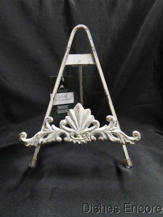"Tripar Distressed White Metal Display Easel w/ Leaf Design for One 8""-12"" Item"