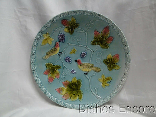"Zell German Majolica Birds & Grapes 230, Blue: Round Platter, 11 1/8"" As Is"