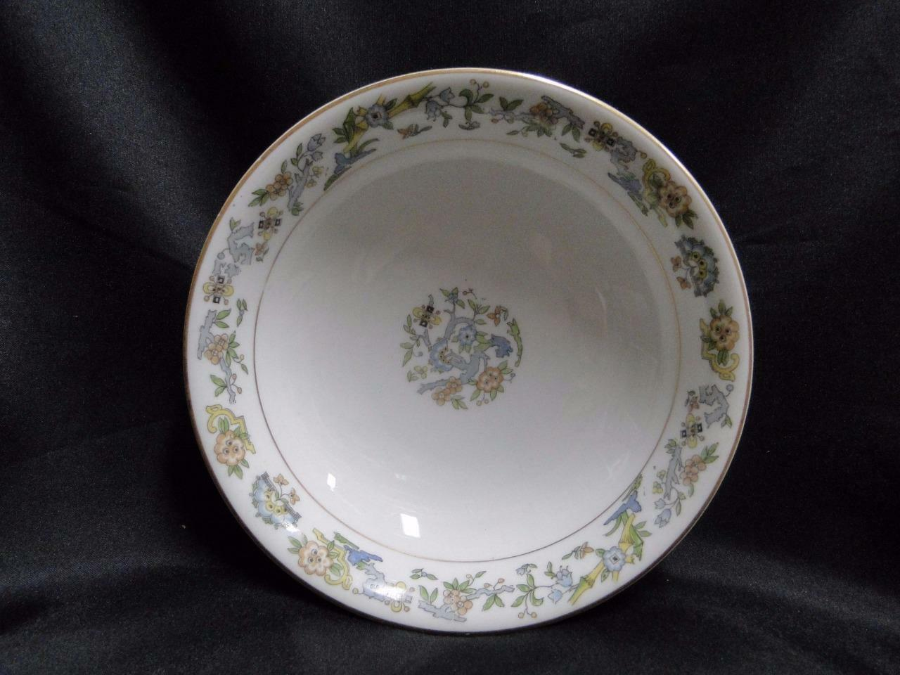 Syracuse Oriental, Blue/Green/Tan Border, Gold Trim: Footed Coupe Cereal Bowl