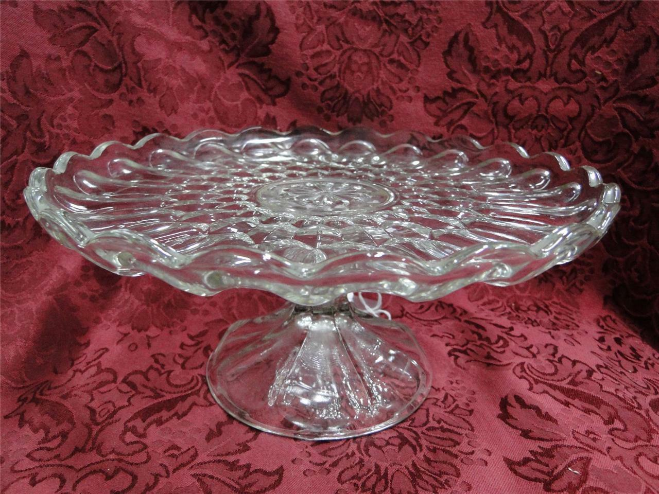 Cake Stand Pressed Glass Scalloped, Patterned 9 7/8""