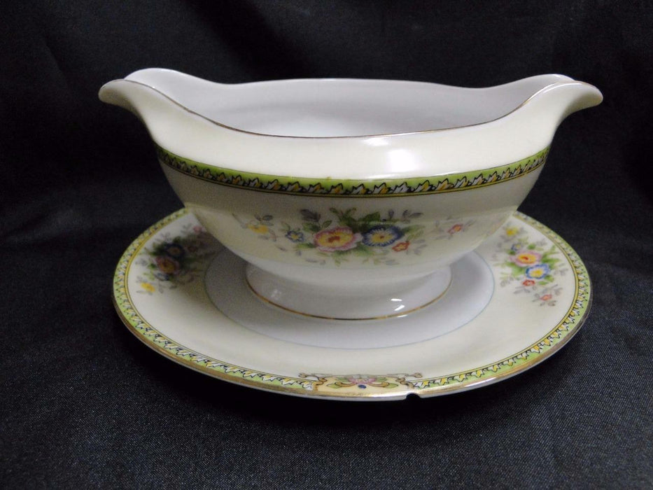 Meito Floral with Green Trim, Gold Edge: Gravy Boat w/Attached Underplate AS IS
