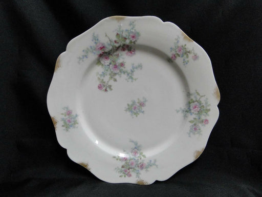 Wm Guerin, Limoges, Pink Roses w/ Blue & Green:  Dinner Plate (s) AS IS 9 3/4""