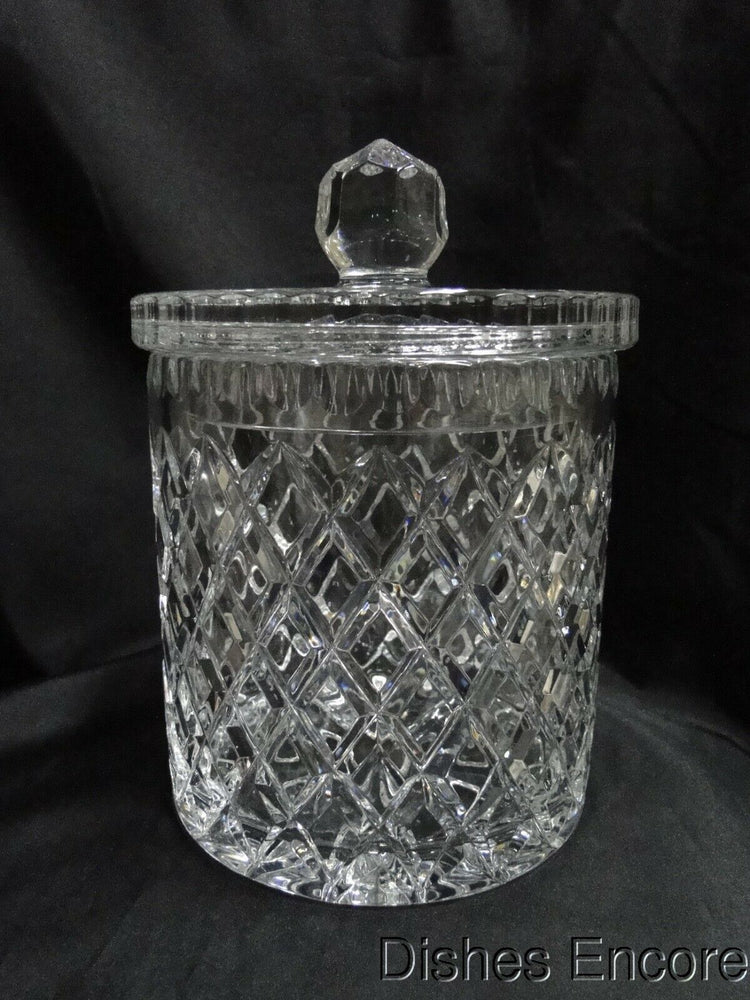 "Clear w/ Cross Hatch Cuts: Biscuit Barrel / Candy Jar w/ Lid, 9"" --  MG#156"