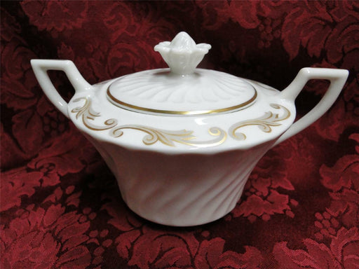 Syracuse Baroque, Gray & Gold Scrolls, Swirl Rim: Sugar Bowl w/ Lid