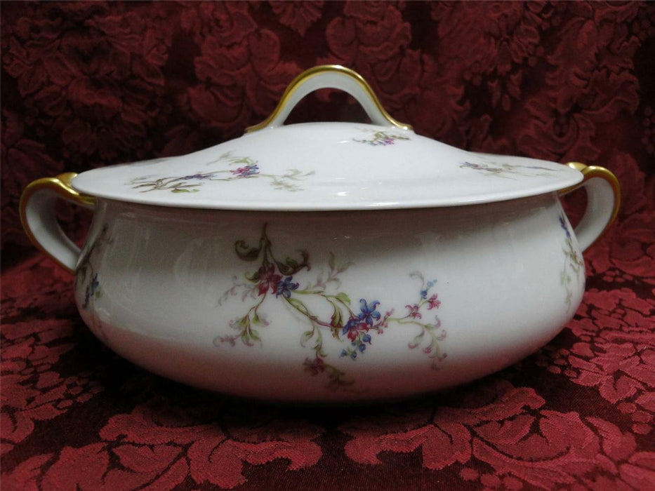 Haviland 1 (Limoges) Fuchsia Pink and Blue Floral: Round Covered Vegetable Bowl