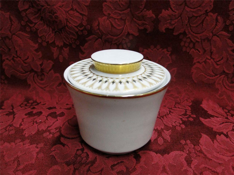 Eschenbach White with Gold & Black Design: Sugar Bowl with Lid