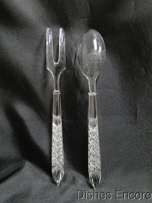 Clear w/ Cut Squares on the Handles: Salad Serving Set, Fork & Spoon, MG#172