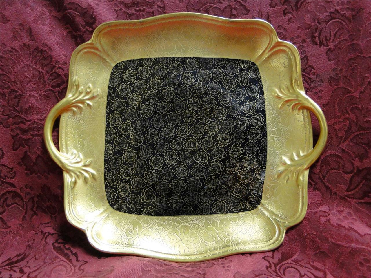 Noritake Encrusted Gold, Gold Flowers on Black, Luster: Square Cake Plate, 11""
