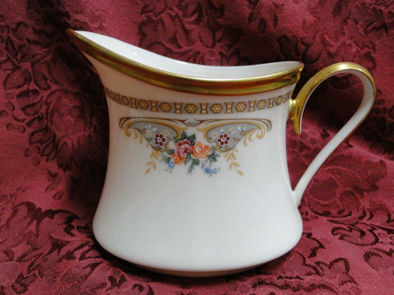 "Lenox Versailles, Floral with Gold Trim: Cream Pitcher, 4 1/8"" tall"