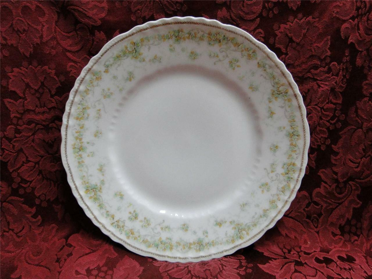 Haviland (Limoges) Green & Tan Floral Garland, Blank 123: Luncheon Plate