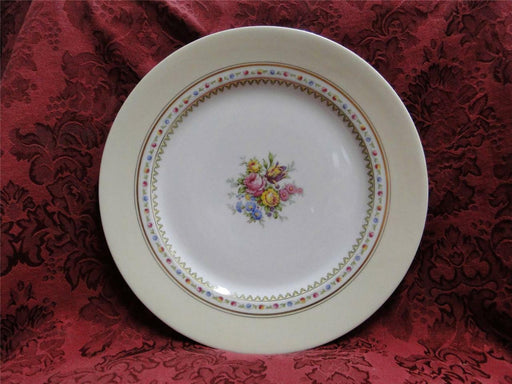 Raynaud RYD2: Tan Rim, Floral Center, Rose Trim: Chop Plate / Round Platter, 11""