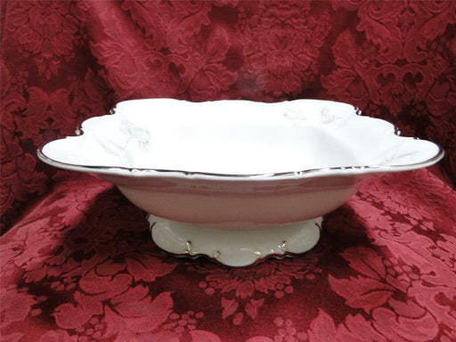 Hutschenreuther Gray Rose, Platinum Trim: Square Footed Vegetable Serving Bowl