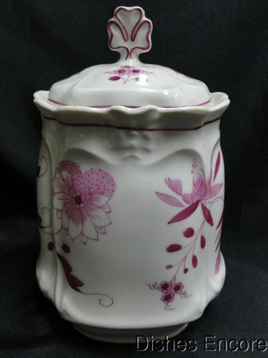 "Pink Onion Patterned Porcelain Canister 8 1/8"", No Maker's Mark"