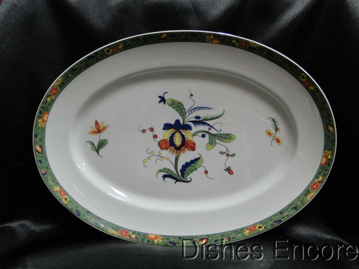 "Raynaud Ceralene Louviers, Flowers, Green Band: Oval Serving Platter, 14"" x 10"""
