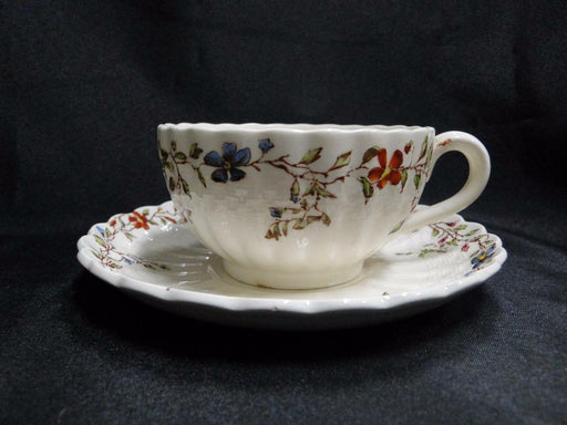 "Spode Wicker Dale, Floral on Chelsea Wicker: Cup & Saucer Set (s), 2 1/8"", As Is"