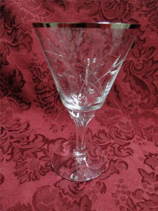 Fostoria Bridal Belle, Cut with Platinum Trim Stem 6072: Wine Goblet (s) 4 7/8""