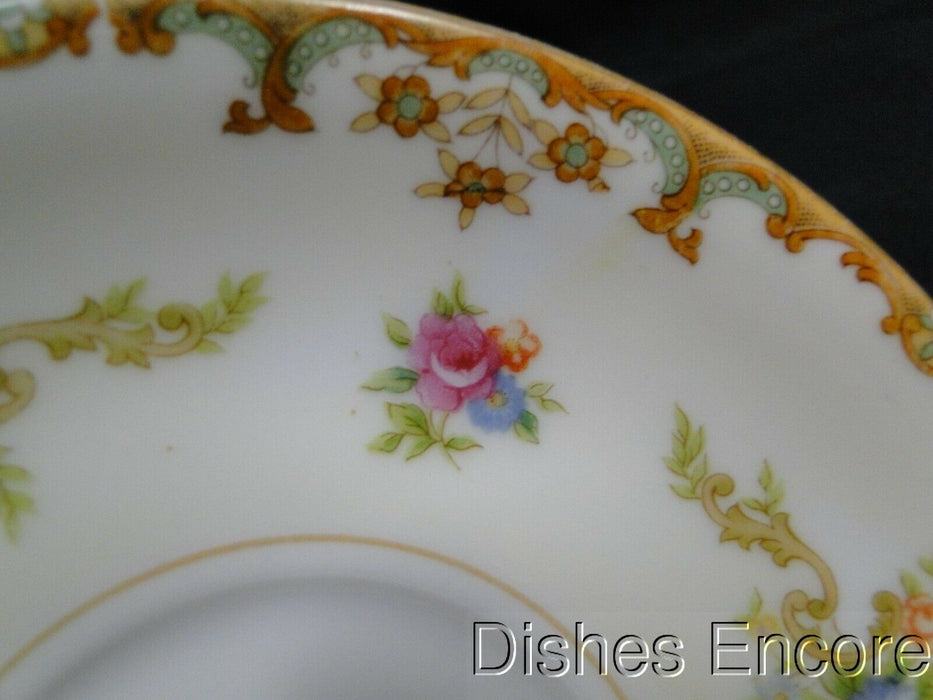 "Sango Regal, Cream Band w/ Florals & Tan Edge:  5 3/8"" Saucer (s) Only, No Cup"