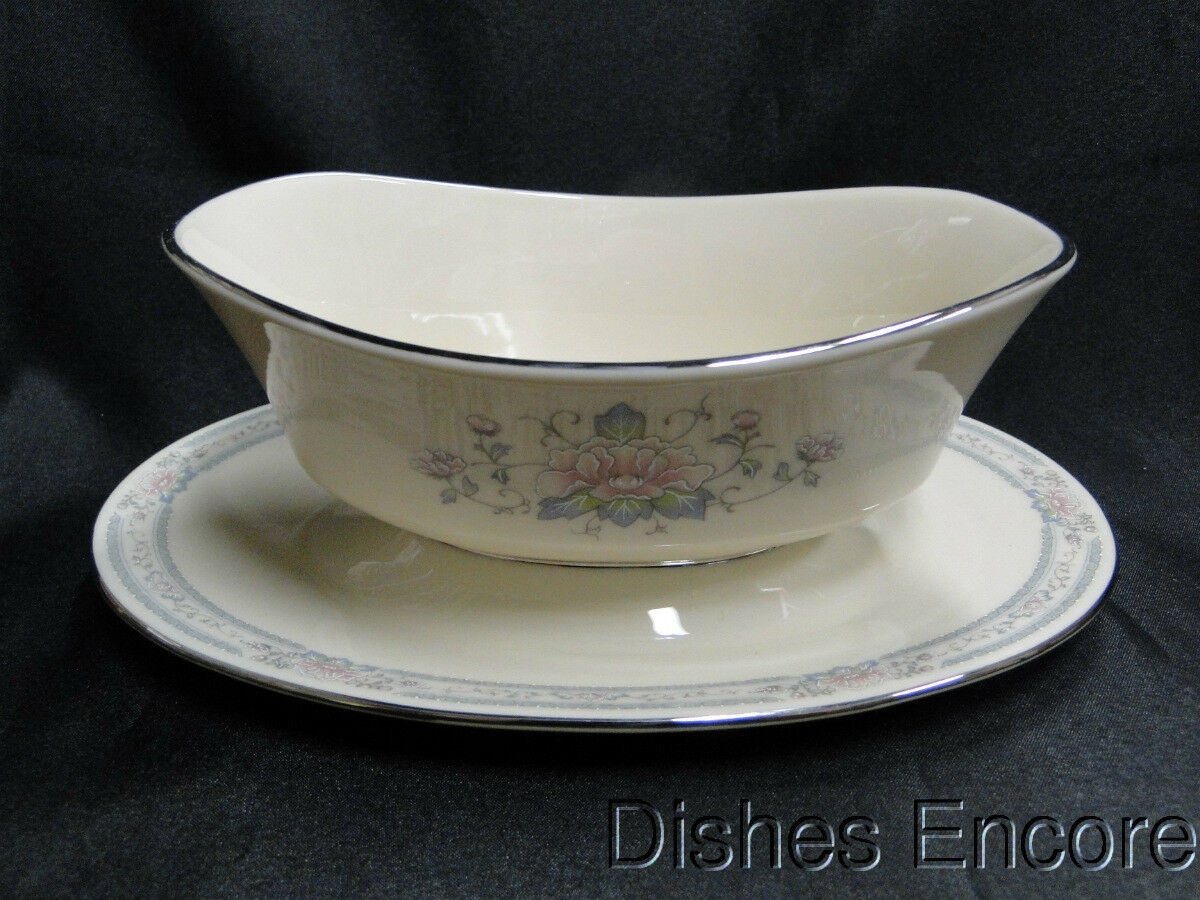 Lenox Charleston, Platinum Trim: Gravy Boat with Attached Underplate