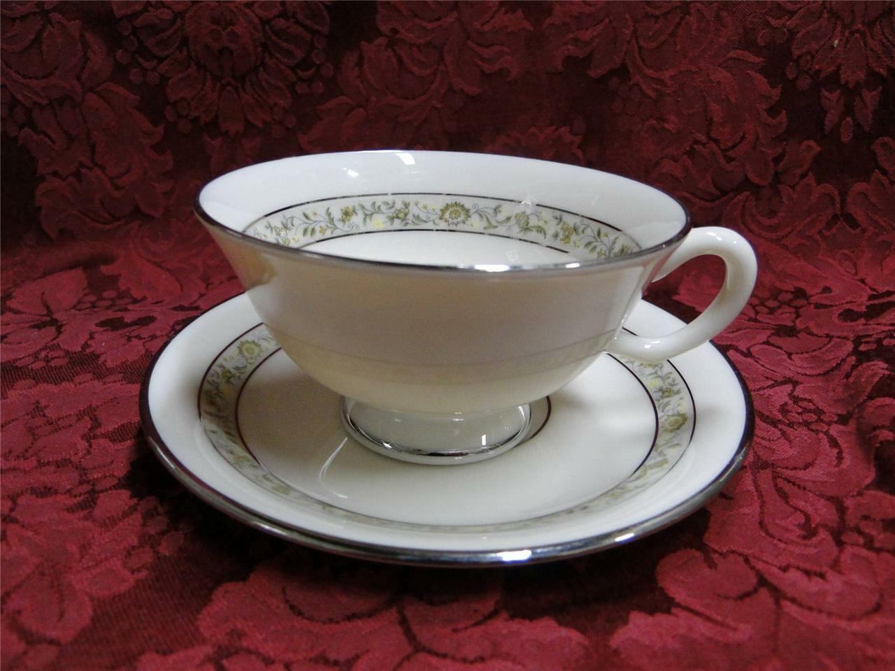 Lenox Springdale Yellow Flowers, Green, Platinum Trim: Cup and Saucer Set (s)