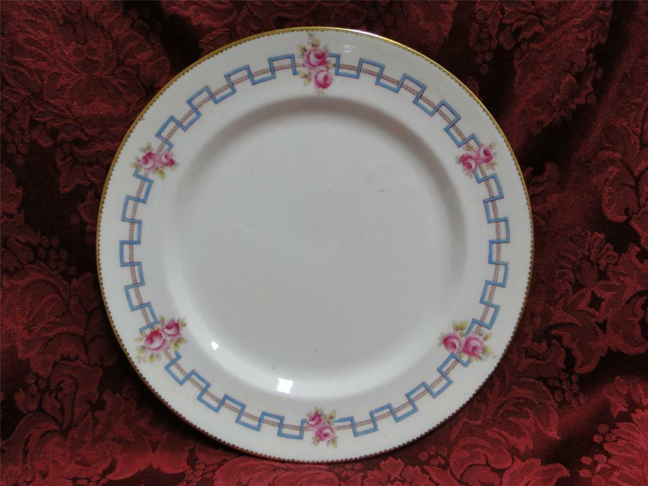 Royal Doulton HB 6700, Pink Flowers, Blue Zig Zag Line: Luncheon Plate (s), 9""