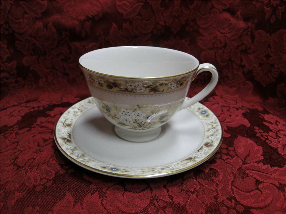 Royal Doulton Mandalay, Tan, Blue & White Flowers: Cup & Saucer Sets (s)