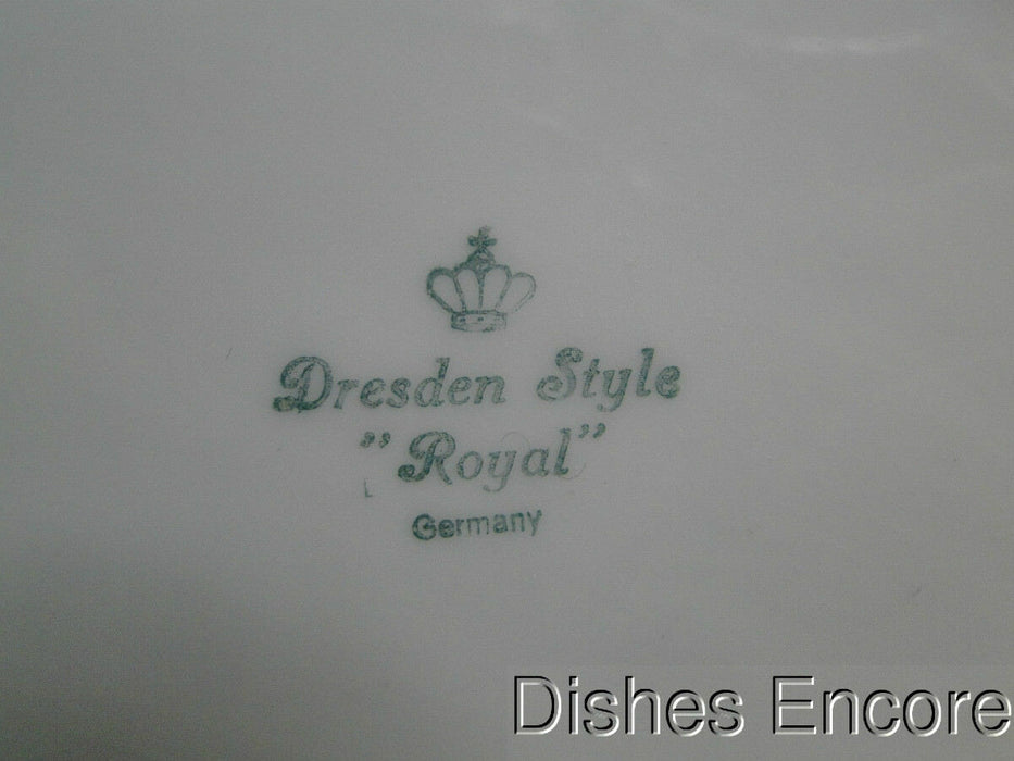 "Dresden Style Royal: Oval Serving Bowl 9 3/4"" Trim Wear"