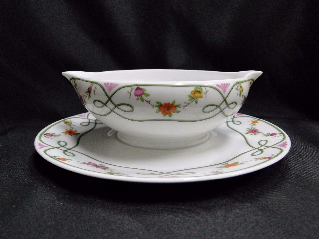 Raynaud Ceralene Guirlandes, Green Line, Flowers: Gravy Boat w/ Attached Plate